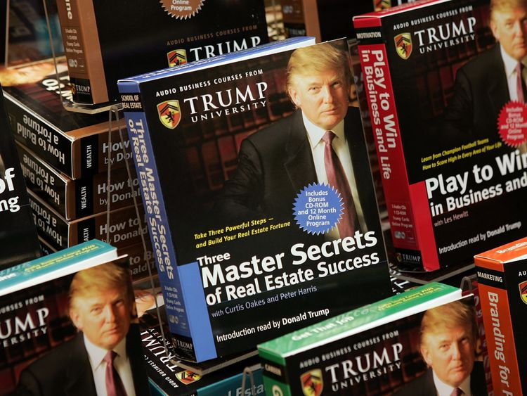 A series of audio business courses by Trump University on display at a Barnes & Noble store