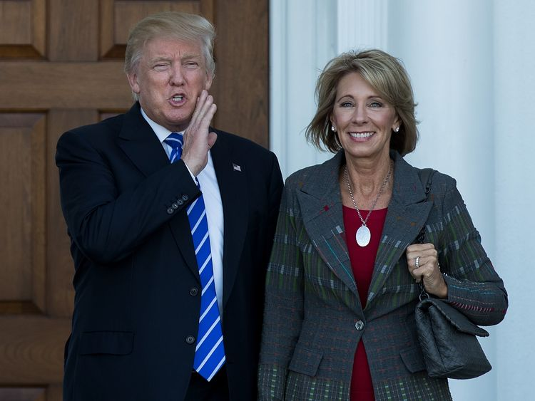 Betsy DeVos is a 'brilliant and passionate education advocate', says Mr Trump