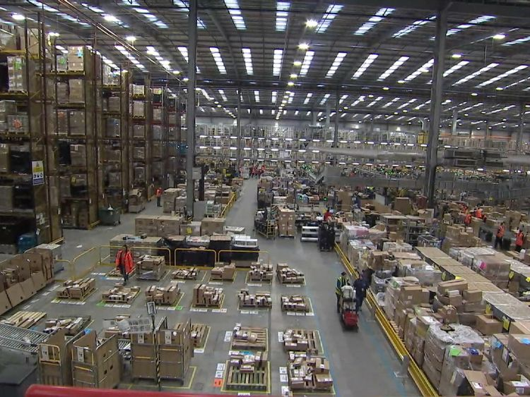 An Amazon warehouse in Peterborough on Black Friday 25 November 2016