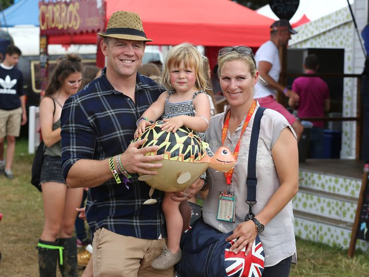 Mike Tindall, Zara Tindell and their daughter Mia Tindall during The Big Feastival in Kingham, Oxfordshire
