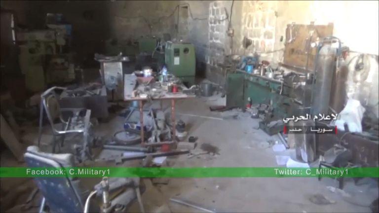 An abandoned rebel base in Aleppo. Pic: YouTube/militarymediasy via Storyful