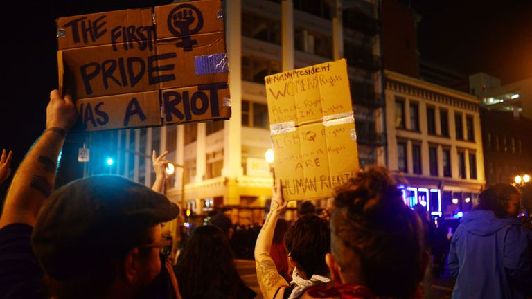 Protests continued for a second night in Portland, Oregon as people protested around the United States after Donald Trump's presidential election victory.