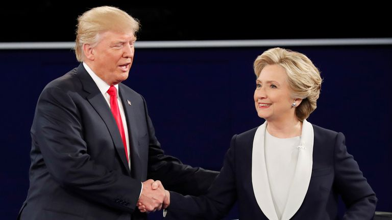 Donald Trump and Hillary Clinton shake hands