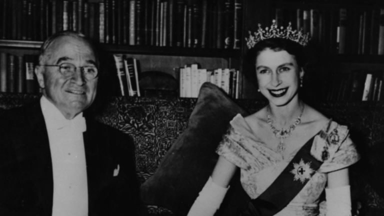 President Harry S Truman sitting with Princess Elizabeth during a dinner at the Canadian Embassy in Washington DC, circa 1950. (Photo by Keystone/Hulton Archive/Getty Images)