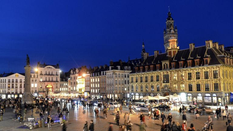 A picture taken on November 8, 2014 shows the grand place of Lille
