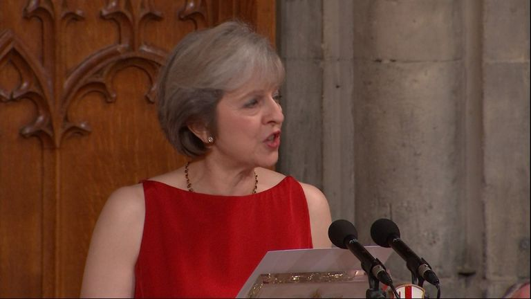 Theresa May speaking at the Guildhall in the City of London