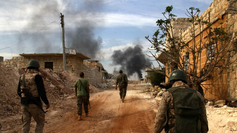 Syrian government forces on the southern outskirts of Aleppo