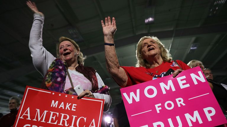 Women  supporters cheer during a Donald Trump campaign rally in Berwyn, Pennsylvania