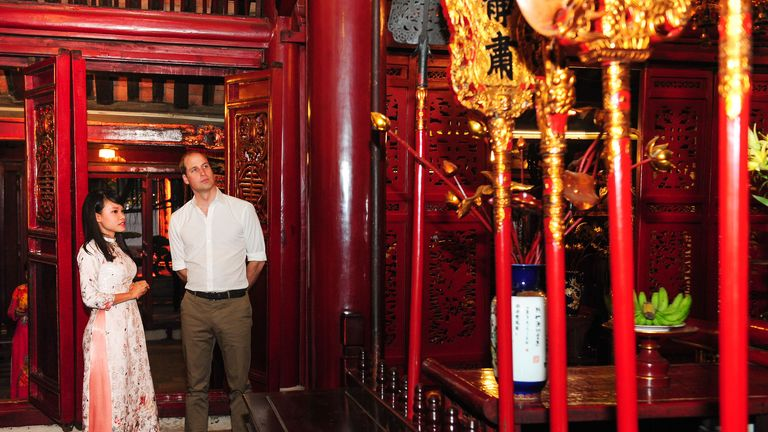 Handout photo released by Kensington Palace of the Duke of Cambridge during a tour of the old quarter of Hano