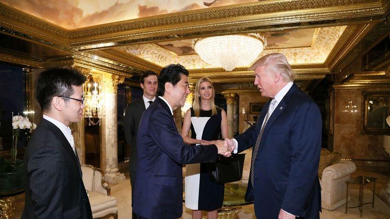 Donald Trump and Shinzo Abe meet at Trump Tower in Manhattan