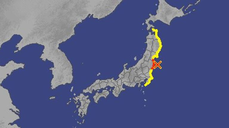 The red and yellow areas have been warned about a possible tsunami