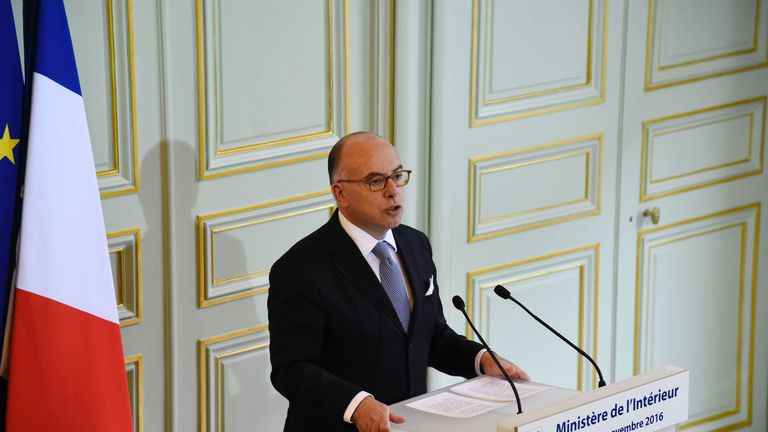 French Interior minister Bernard Cazeneuve gives a press conference on November 21, 2016 in Paris. Police have broken up a terror ring plotting an attack in France after arresting seven suspects in Strasbourg and Marseille