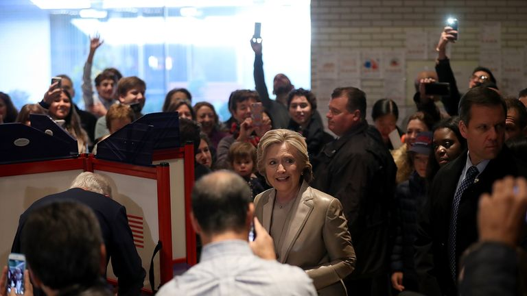 CHAPPAQUA, NY - NOVEMBER 08: Democratic presidential nominee former Secretary of State Hillary Clinton is surrounded by people as she votes at Douglas Grafflin Elementary School on November 8, 2016 in Chappaqua, New York. Hillary Clinton cast her ballot in the presidential election as the rest of America goes to the polls to decide between her and Republican presidential candidate Donald Trump. (Photo by Justin Sullivan/Getty Images)
