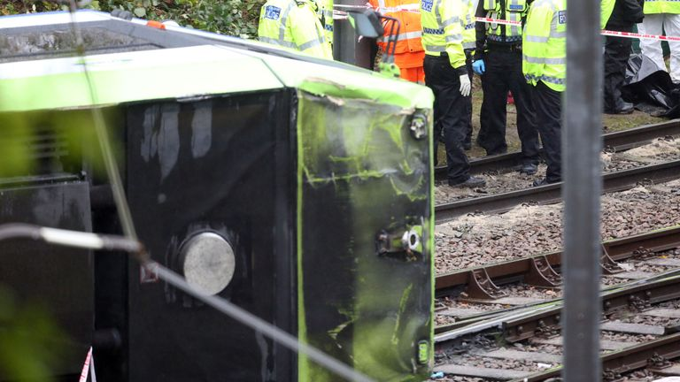 The scene after a tram overturned in Croydon, south London