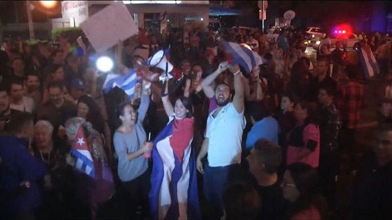 People in Miami celebrate Fidel Castro's death