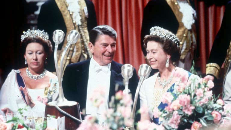 Princess Margaret and Queen Elizabeth II entertaining President Ronald Reagan at Windsor during his State Visit to England 1980