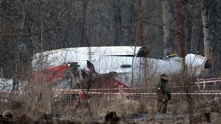 The wreckage of a Polish government Tupolev Tu-154 aircraft which crashed on April 10 near Smolensk airport.