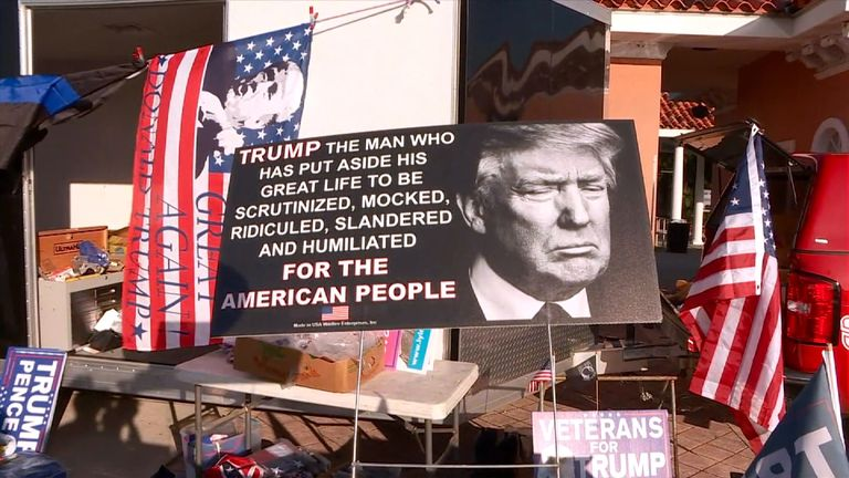 A placard from a pro-Trump supporter