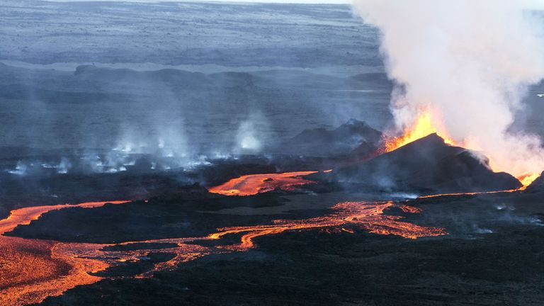 Lava flows out of the Bardarbunga volcano in southeast Iceland