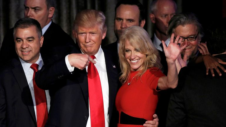 President-elect Donald Trump and his campaign manager Kellyanne Conway greet supporters during his election night rally in Manhattan