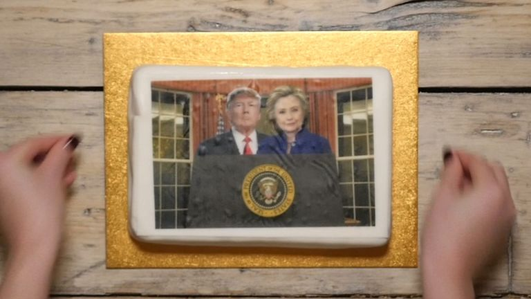 Hillary Clinton and Donald Trump on a cake