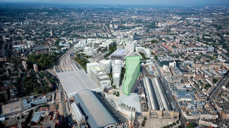 Aerial view of Google's planned new London building
