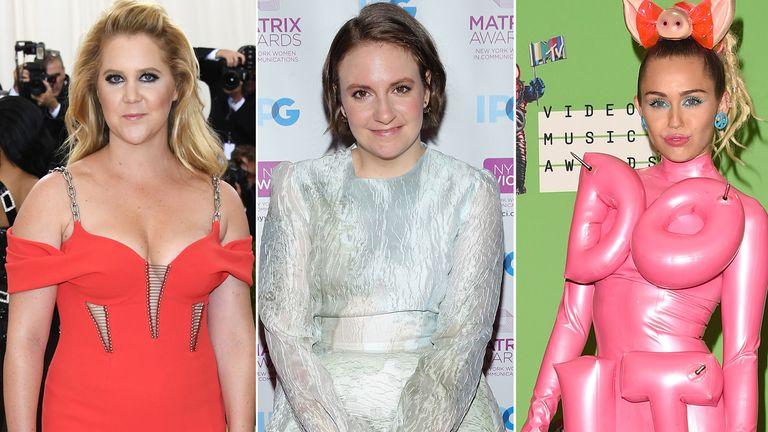 Amy Schumer, Lena Dunham, and Miley Cyrus