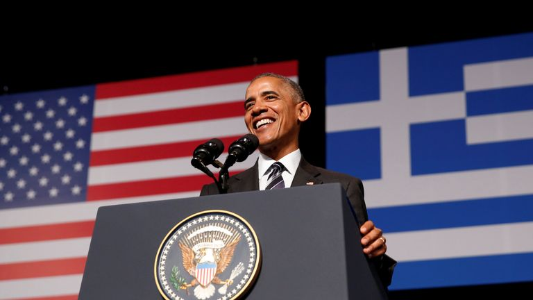 Barack Obama delivers a speech in Athens
