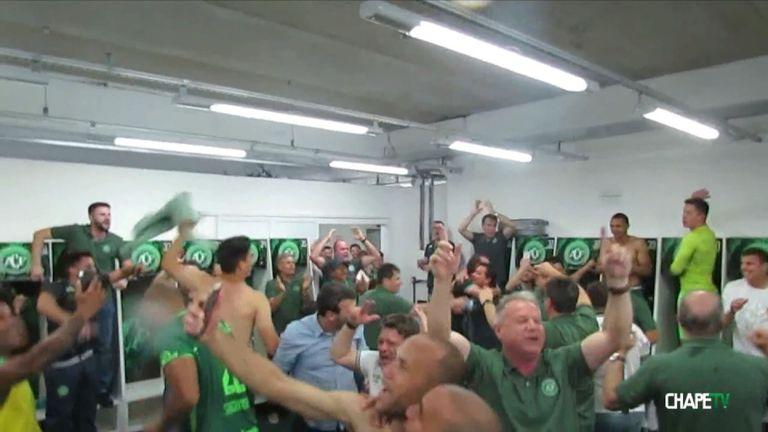 Chapecoense celebrate winning their Copa Sudamericana semi-final