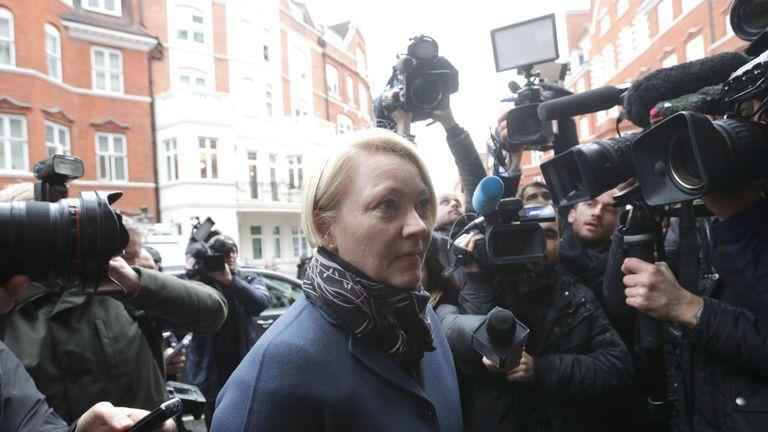 Swedish prosecutor Ingrid Isgren arrives at Eduador's embassy in London