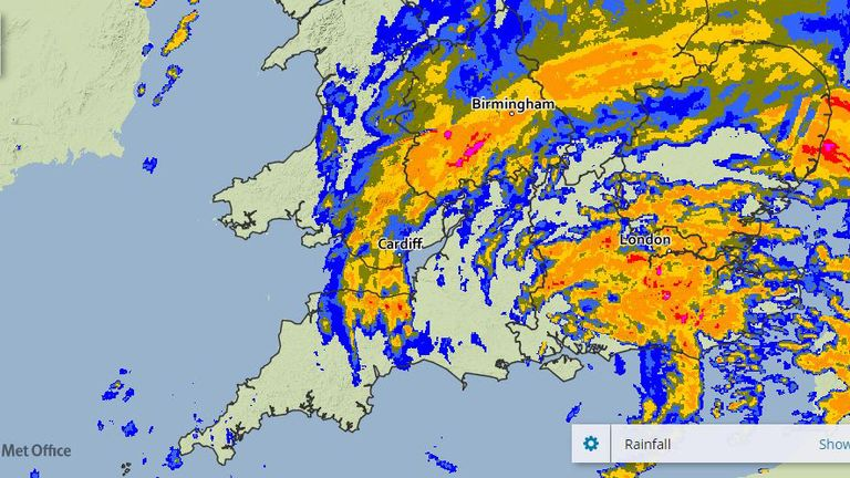 A Met Office image of rainfall over southern England at 5am