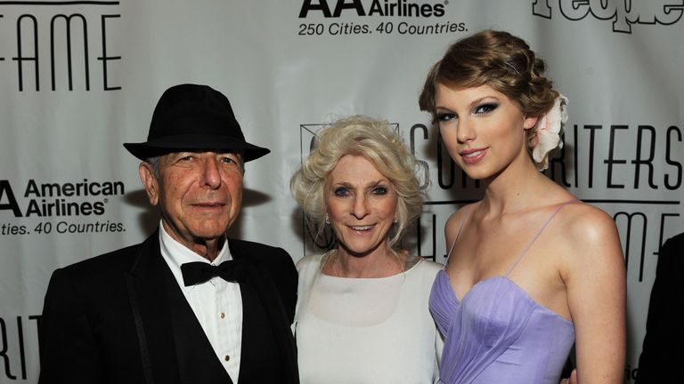 Leonard Cohen, Judy Collins and Taylor Swift attend the 41st Annual Songwriters Hall of Fame Ceremony