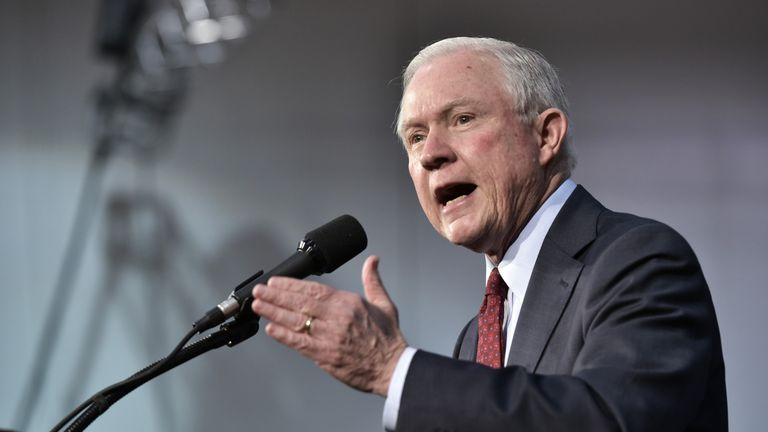 Senator Jeff Sessions speaks at a rally for Donald Trump during the presidential election campaign