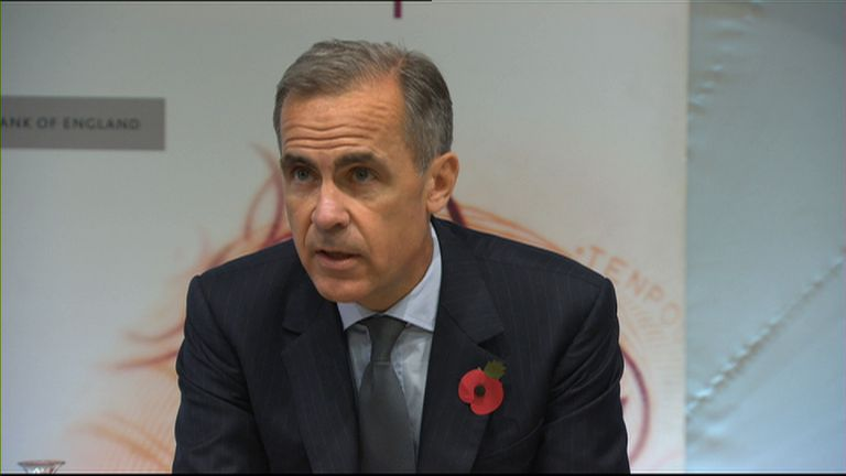 Mark Carney delivers November's Inflation Report