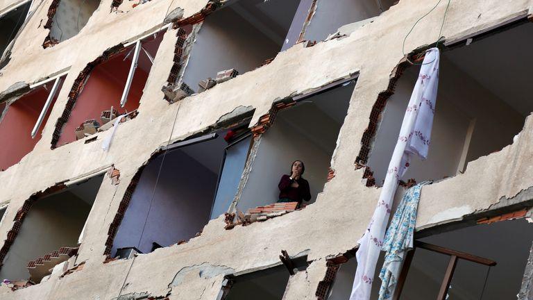 A damaged building after a blast in the Kurdish-dominated southeastern city of Diyarbakir, Turkey