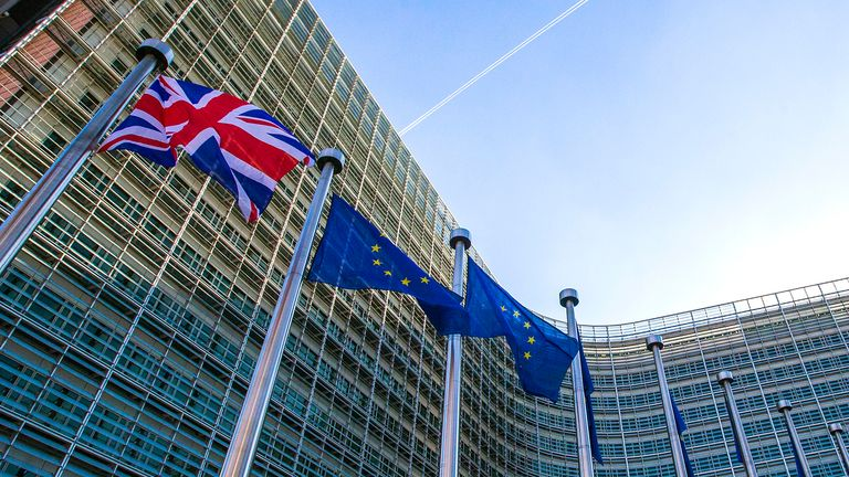 A Union Jack flag is seen next to European Union flags