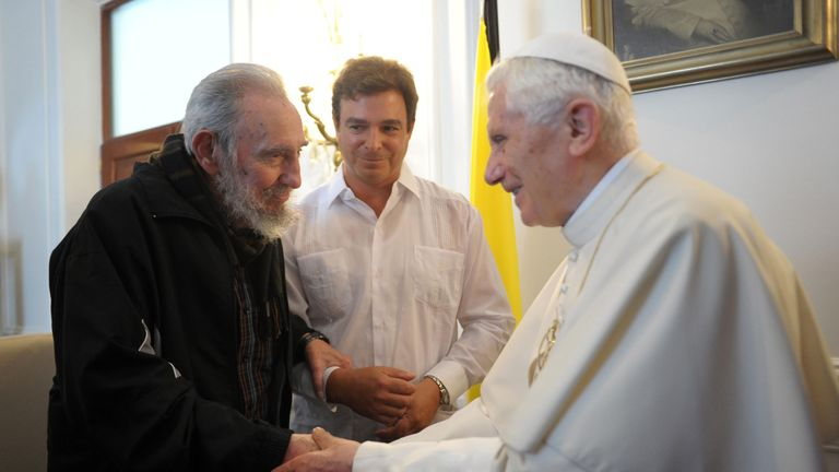 Pope Benedict XVI meets with former Cuban President Fidel Castro