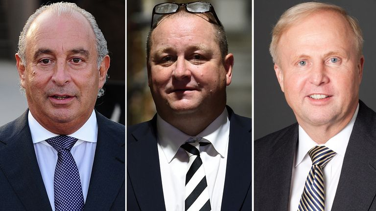Sir Philip Green, Mike Ashley and Bob Dudley 