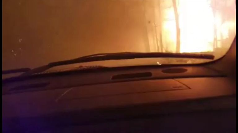 View of Gatlinburg wildfire from a vehicle on the road