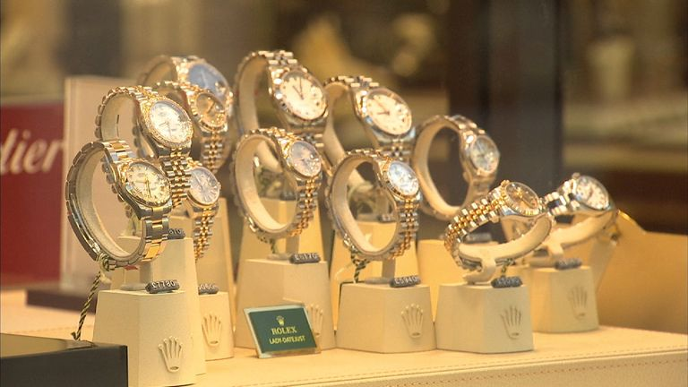 Watches in a Mappin & Webb shop window