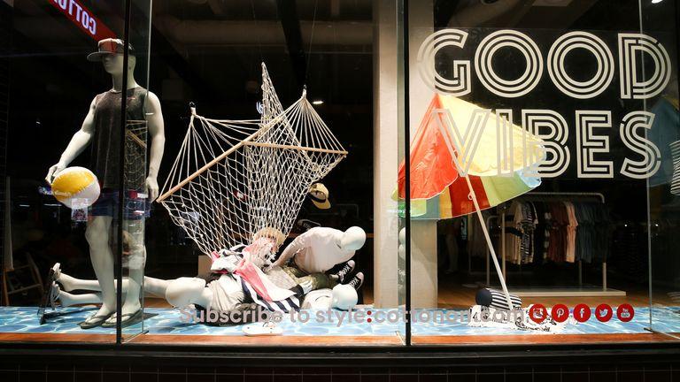 Mannequins in a Wellington shop took a tumble