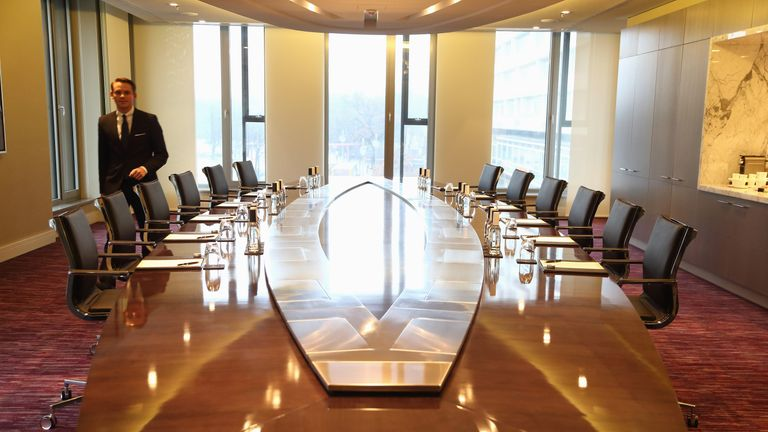 The Broadway Boardroom of the Presidential suite is pictured during the opening of Germany's first Waldorf Astoria hotel on January 3, 2013 in Berlin, Germany