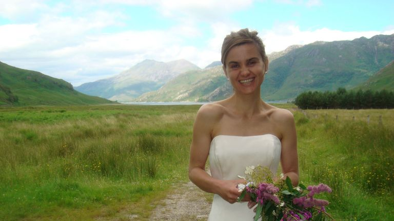 Jo Cox in her wedding dress