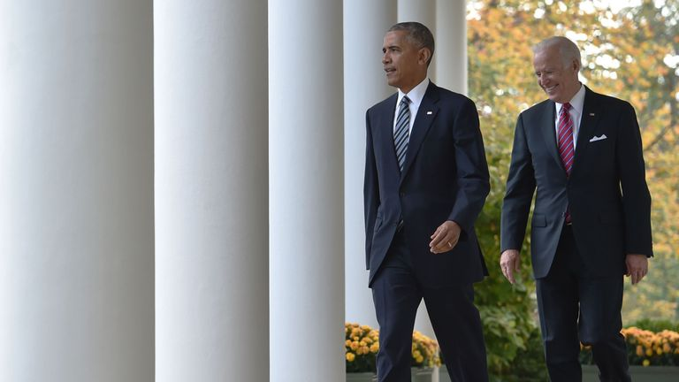 US President Barack Obama (L) arrives together with Vice President Joe Biden to adresse, for the first time publicly, the shock election of Donald Trump as his successor, on November 9, 2016 at the White House in Washnigton, D.C. Throughout the two-year-long election campaign, Obama has repeated a mantra that he will do all he can to ensure the peaceful transition of power. / AFP / Nicholas Kamm (Photo credit should read NICHOLAS KAMM/AFP/Getty Images)