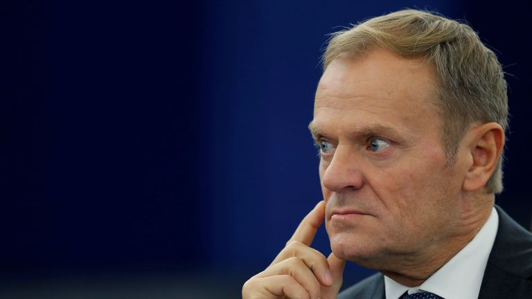 European Council president Donald Tusk attends a debate on the last European Summit at the European Parliament in Strasbourg, France, October 26, 2016