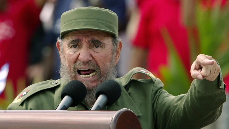 Fidel Castro addresses a rally in the Cuban capital Havana