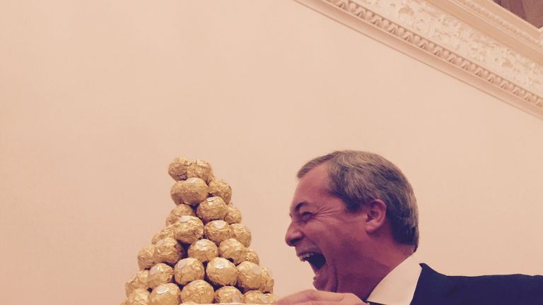 Arriving with a tray of chocolates Mr Farage was really spoiling his guests