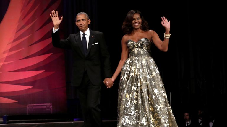 The glamorous First Lady seen with her husband, the president, at a dinner in Washington in September