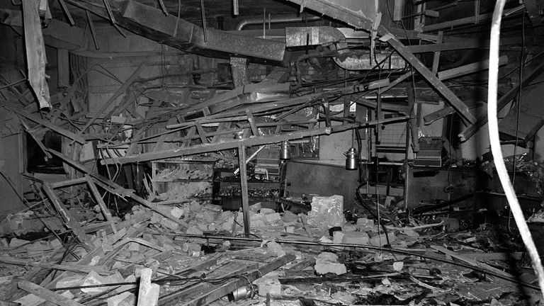 The inside of the Mulberry Bush pub in Birmingham after a bomb went off in 1974