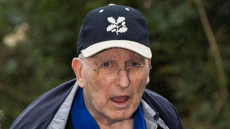 Lord Greville Janner arrives at a house after appearing at Westminster Magistrates' Court in London, Britain August 14, 2015.